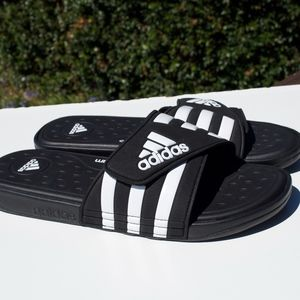 Adidas Cloudfoam Black White Slides Velcro 12